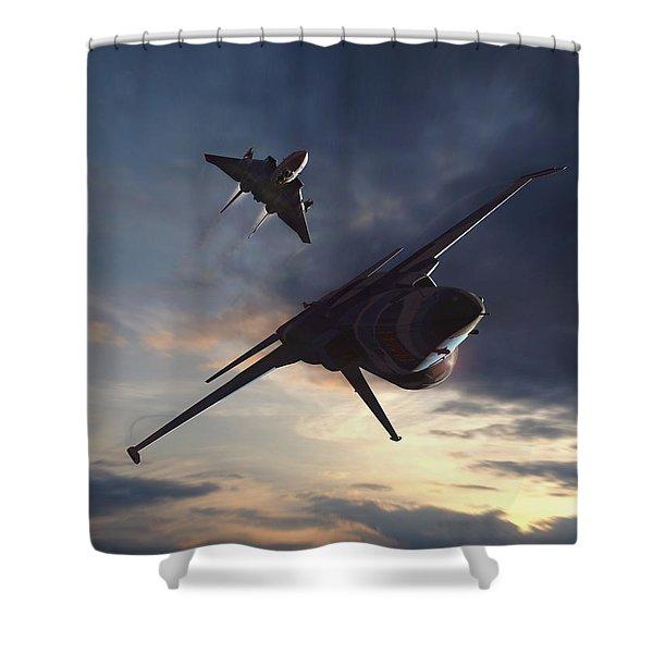 Morning Aerobatics Shower Curtain