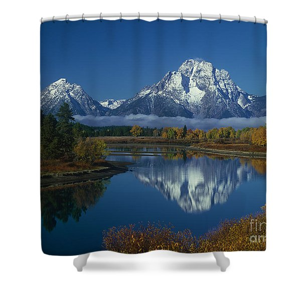 Morning Cloud Layer Oxbow Bend In Fall Grand Tetons National Park Wyoming Shower Curtain