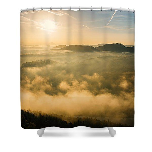Morning Fog In The Saxon Switzerland Shower Curtain
