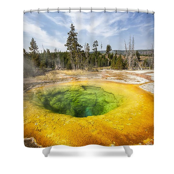 Shower Curtain featuring the photograph Morning Glory Pool In Yellowstone National Park by Bryan Mullennix