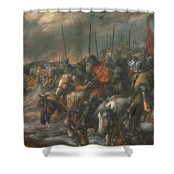Morning Of The Battle Of Agincourt, 25th October 1415, 1884 Oil On Canvas Shower Curtain