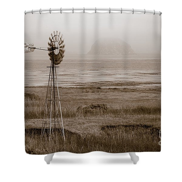 Morro Bay Windmill Shower Curtain