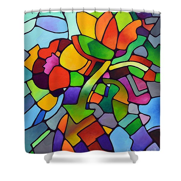 Mosaic Bouquet Shower Curtain