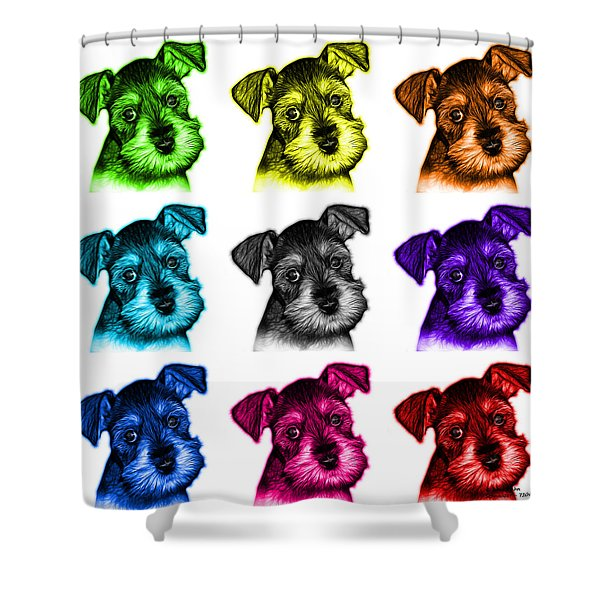 Mosaic Salt And Pepper Schnauzer Puppy 7206 F - Wb Shower Curtain