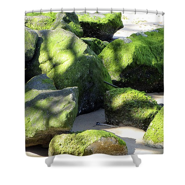 Moss On The Rocks Shower Curtain