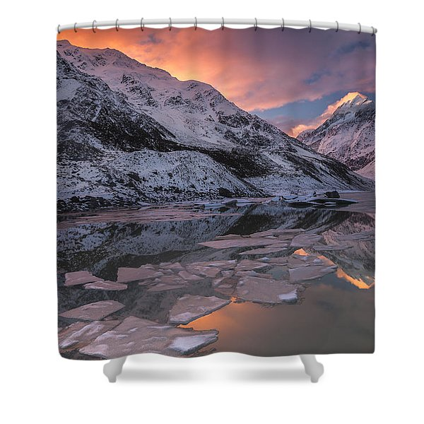Mount Cook And Mueller Lake In Mount Shower Curtain