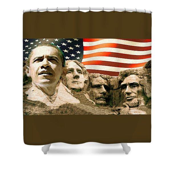 Barack Obama On Mount Rushmore - American Art Poster Shower Curtain