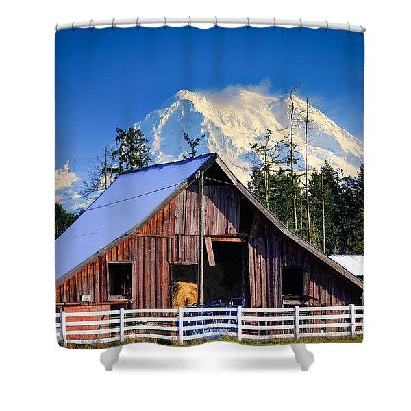 Mount Rainier And Barn Shower Curtain