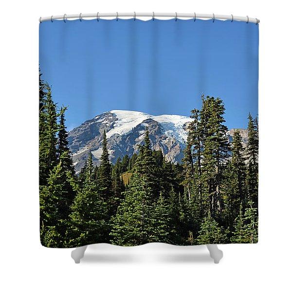 Mount Rainier Evergreens Shower Curtain