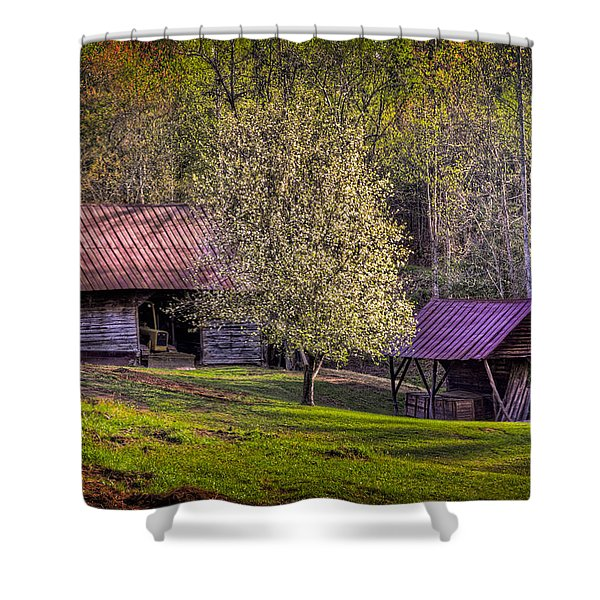Mountain Barns In North Carolina Shower Curtain by Debra and Dave Vanderlaan