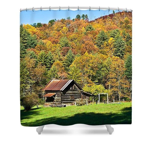 Mountain Log Home In Autumn Shower Curtain