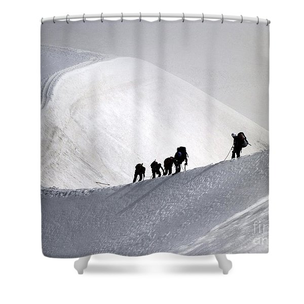 Mountaineers To Conquer Mont Blanc Shower Curtain