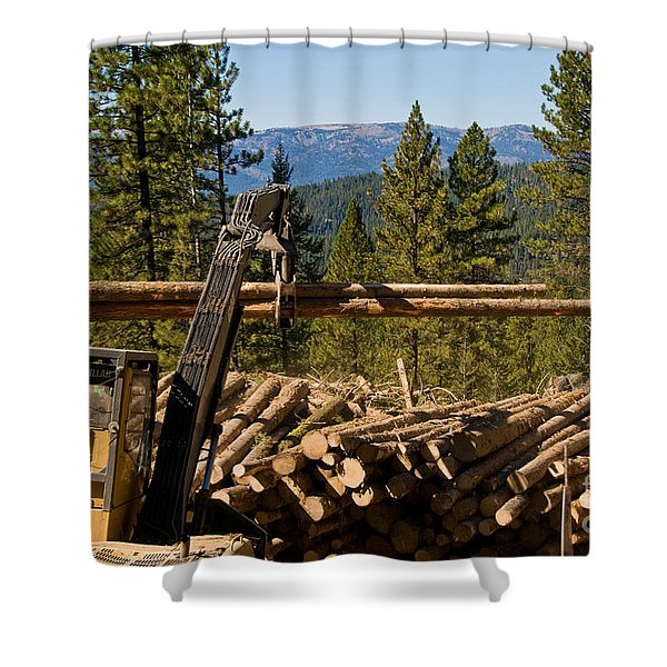 Moving Logs Shower Curtain