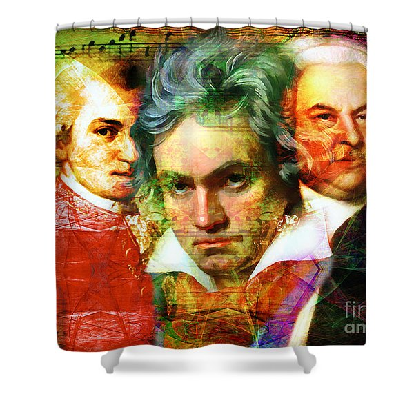 Shower Curtain featuring the photograph Mozart Beethoven Bach 20140128 by Wingsdomain Art and Photography