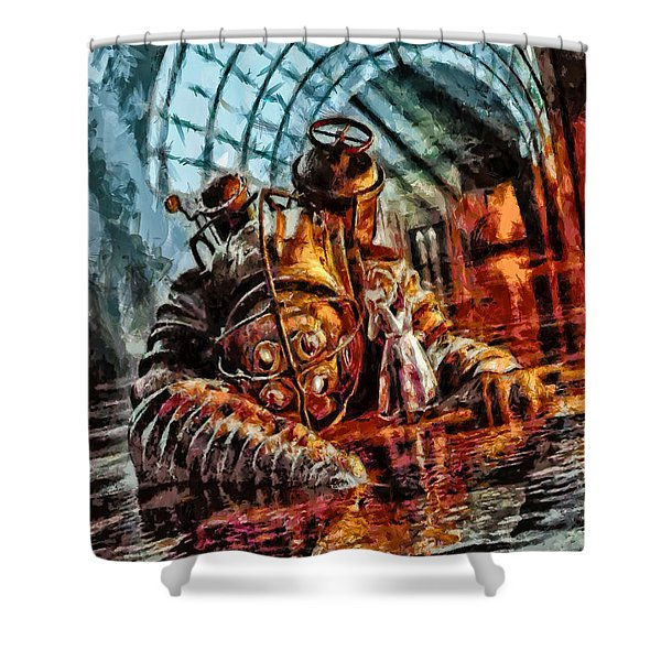 Mr. Bubbles Please Get Up Shower Curtain