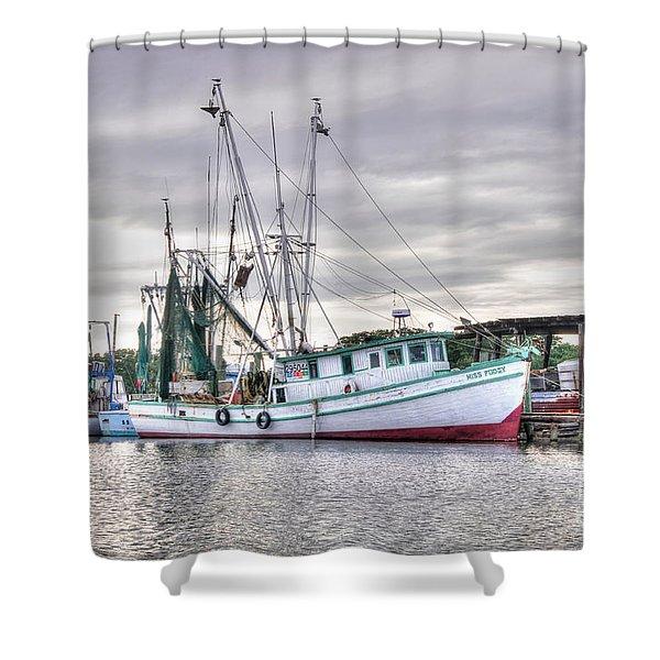 Mrs Pudgy Shrimp Docks Shower Curtain