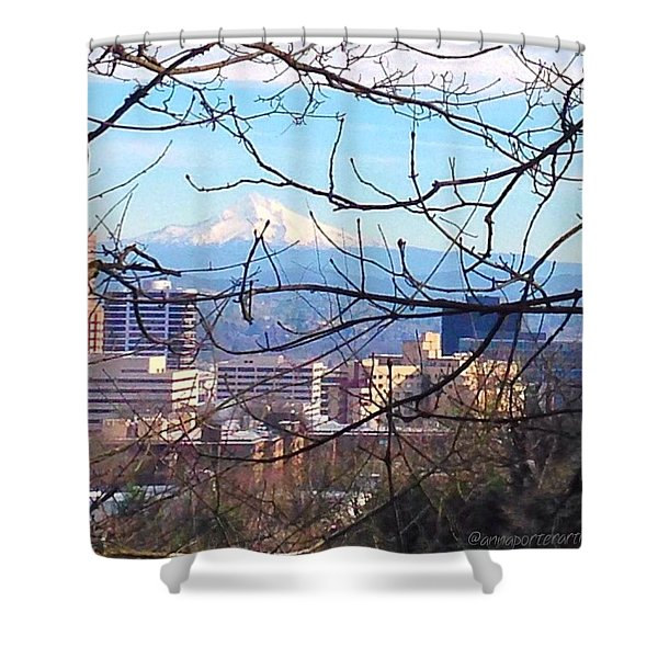Mt Hood And Downtown Portland Shower Curtain