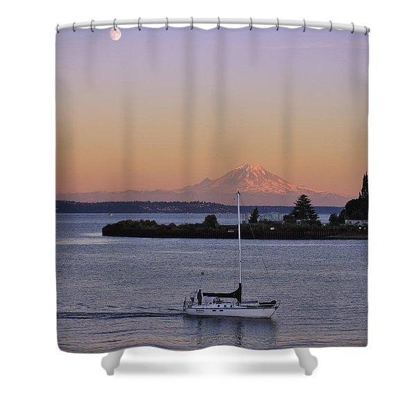 Mt. Rainier Afterglow Shower Curtain