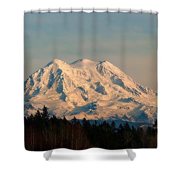Mt Rainier Winter Panorama Shower Curtain