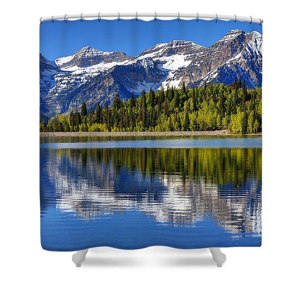 Mt. Timpanogos Reflected In Silver Flat Reservoir - Utah Shower Curtain