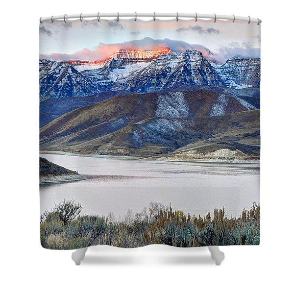Mt. Timpanogos Winter Sunrise Shower Curtain
