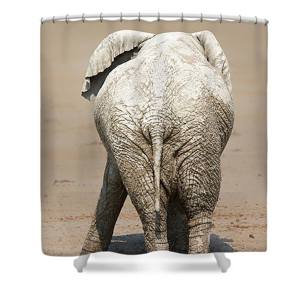 Muddy Elephant With Funny Stance  Shower Curtain