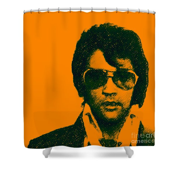 Mugshot Elvis Presley Square Shower Curtain
