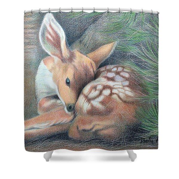 Mule Deer Fawn Shower Curtain