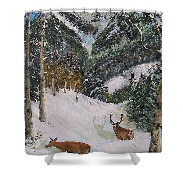 Mule Deer In Winter Shower Curtain