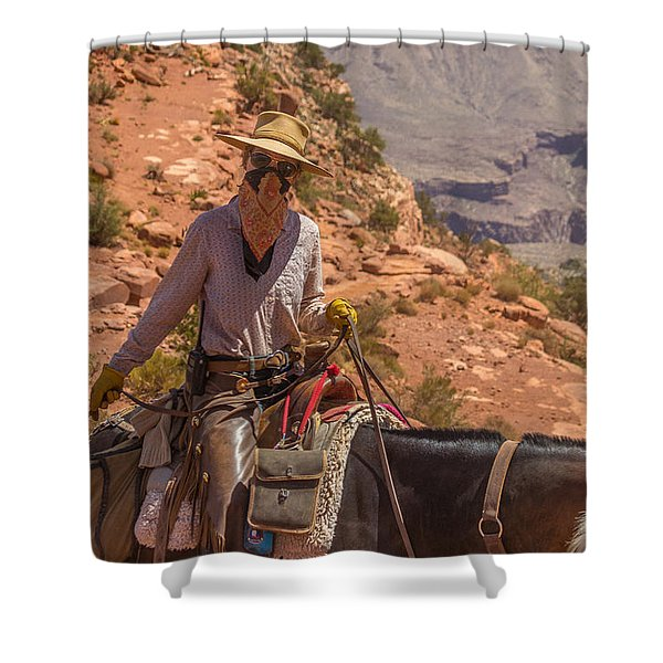 Mule Wrangler On The South Kaibab Trail Shower Curtain