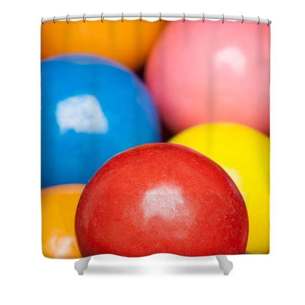 Shower Curtain featuring the photograph Multi-colored Gumballs by Bryan Mullennix
