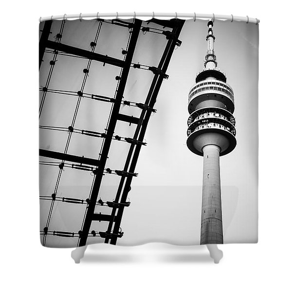 Munich - Olympiaturm And The Roof - Bw Shower Curtain