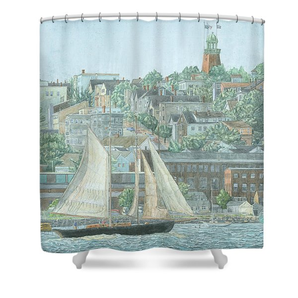 Shower Curtain featuring the drawing Munjoy Hill by Dominic White