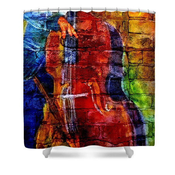 Musician Bass And Brick Shower Curtain