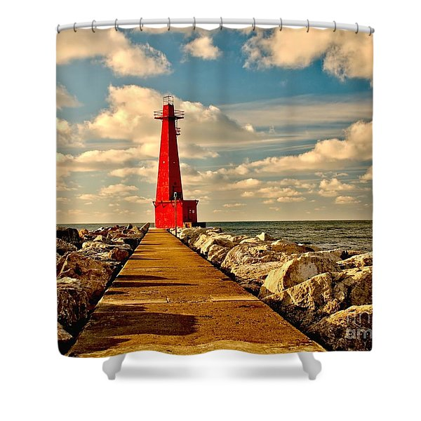 Muskegon South Pier Light Shower Curtain