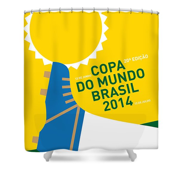My 2014 World Cup Soccer Brazil - Rio Minimal Poster Shower Curtain