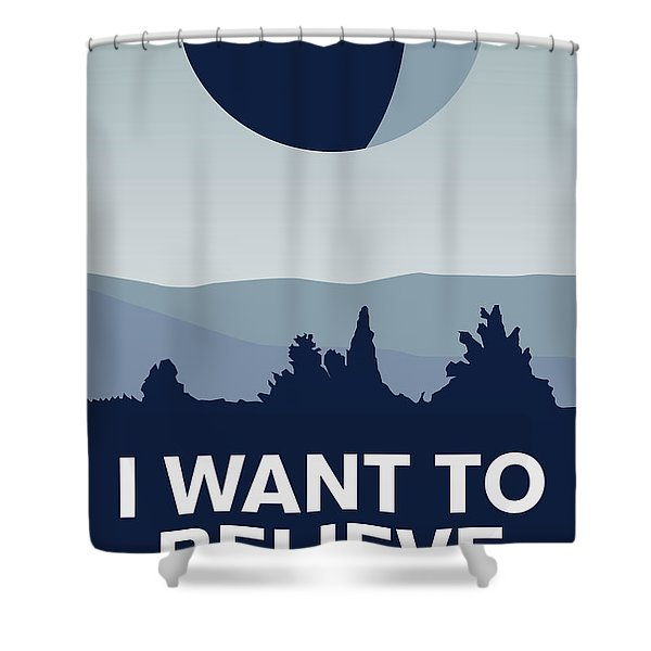 My I Want To Believe Minimal Poster-deathstar Shower Curtain