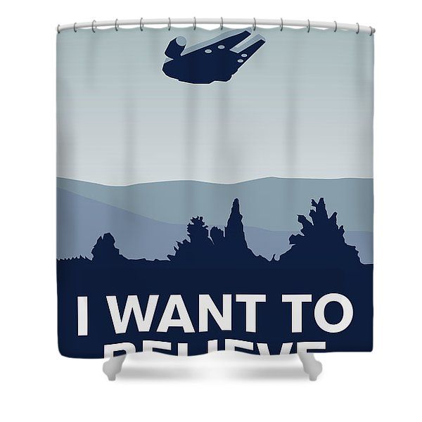 My I Want To Believe Minimal Poster-millennium Falcon Shower Curtain