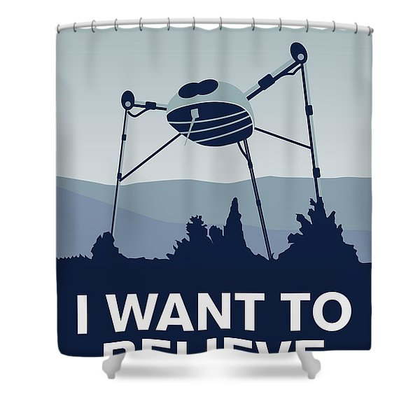 My I Want To Believe Minimal Poster-war-of-the-worlds Shower Curtain