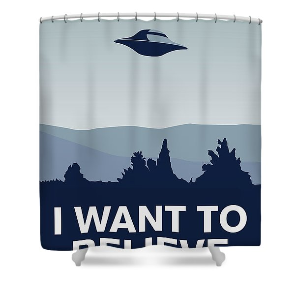 My I Want To Believe Minimal Poster-xfiles Shower Curtain