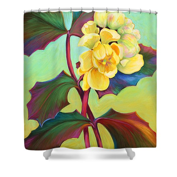 Shower Curtain featuring the painting My Oregon Grape by Sandi Whetzel