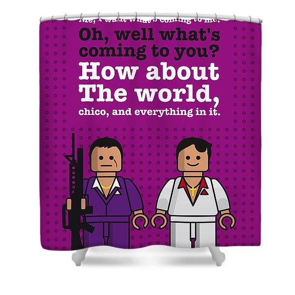 My Scarface Lego Dialogue Poster Shower Curtain