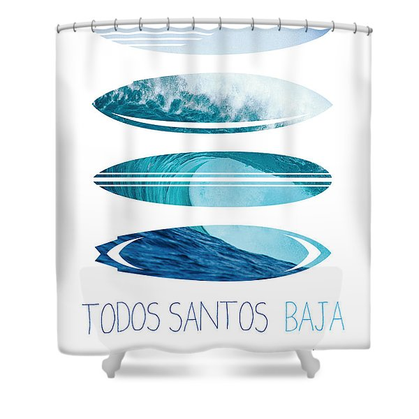 My Surfspots Poster-6-todos-santos-baja Shower Curtain