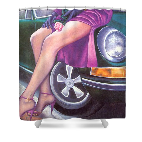 Mystery On Peter's Porsche Shower Curtain