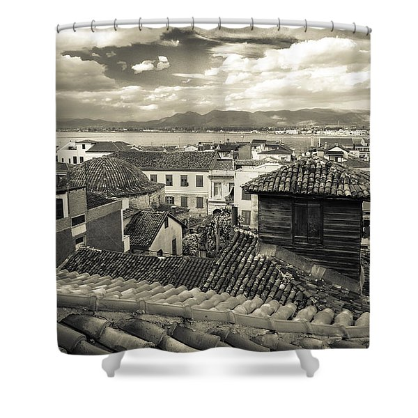 Nafplio Rooftops Sepia Shower Curtain