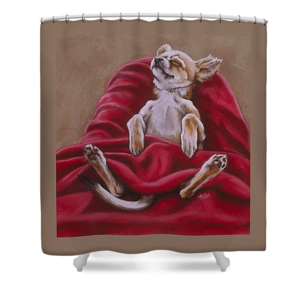 Shower Curtain featuring the pastel Nap Hard by Barbara Keith