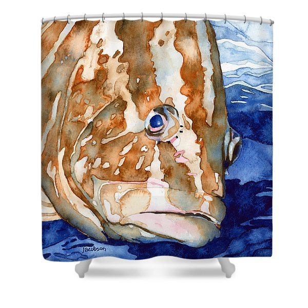 Nassau Grouper Portrait Shower Curtain