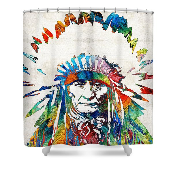 Native American Art - Chief - By Sharon Cummings Shower Curtain