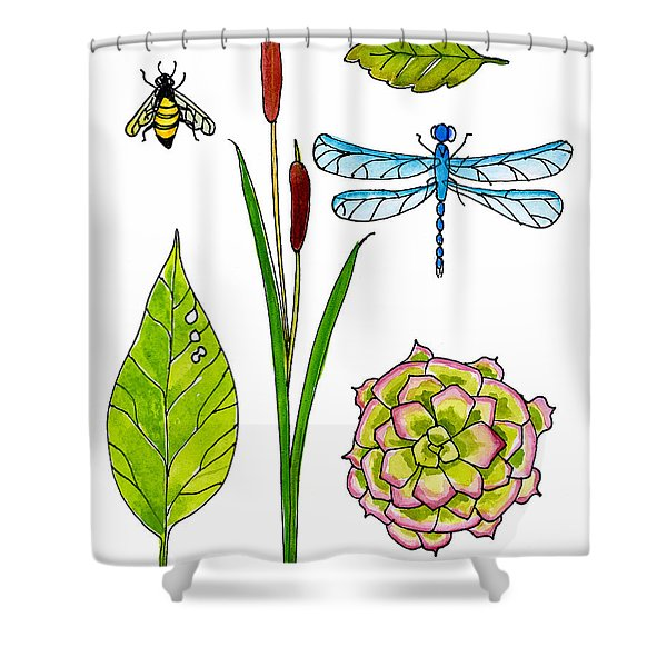 Natural History By The Pond Shower Curtain