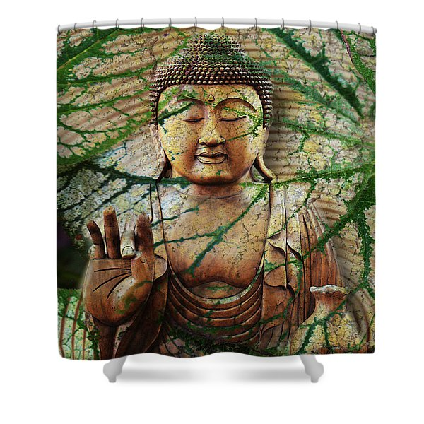 Shower Curtain featuring the mixed media Natural Nirvana by Christopher Beikmann